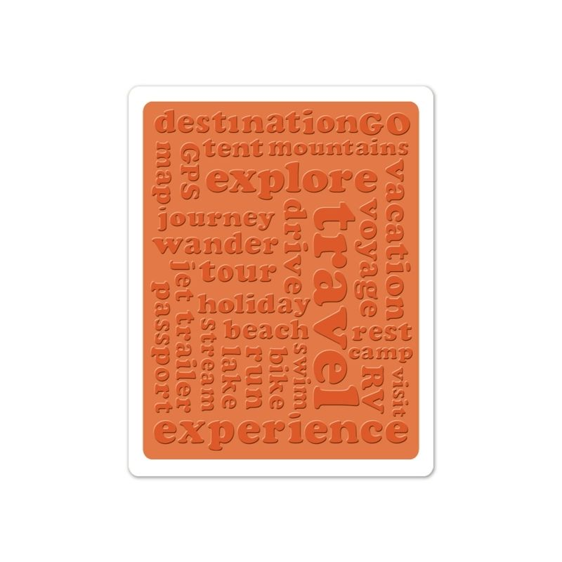 Sizzix Textured Impressions Embossing Folder - Travel Words