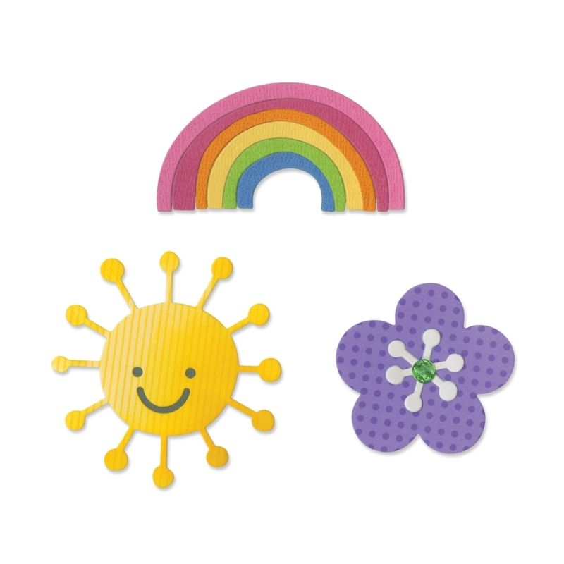 Sizzix Thinlits Die Set 4PK - Flower, Rainbow & Sun
