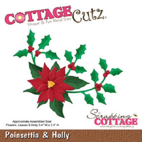 CottageCutz Poinsettia & Holly Metal Die